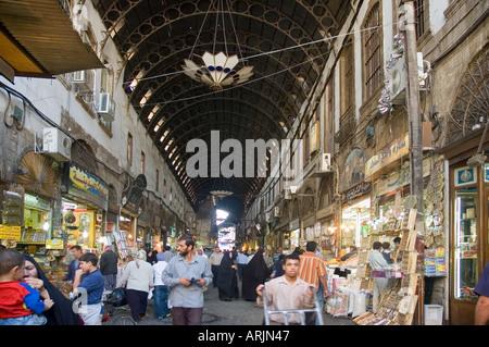 Main street of covered bazaar, al-Hamidiyya souk, souq, district of Damascus, Syria, Middle East. DSC_5703 - Stock Photo