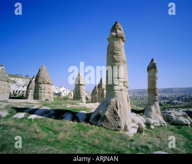 Rock formations resulting from differential erosion, Goreme Valley, Cappadocia, Turkey, Eurasia - Stock Photo