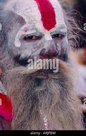 Portrait of an Indian Sadhu, Pashupatinath, Katmandu, Nepal - Stock Photo