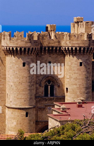 Towers of the Palace of the Grand Masters dating from medieval times, Rhodes City, Rhodes, Dodecanese Islands, Greece - Stock Photo