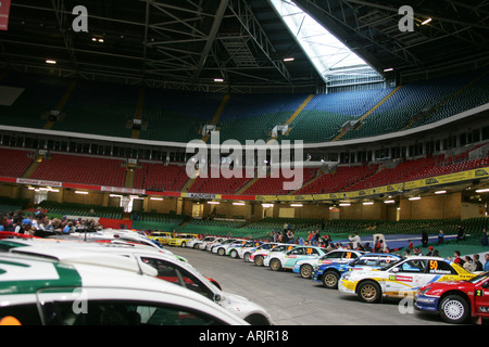 wales rally gb 2005 cars leave millennium stadium and. Black Bedroom Furniture Sets. Home Design Ideas