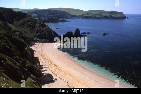 Looking south towards Hope Cove and Bolt Tail on the Southwest coast path near Thurlestone, South Devon - Stock Photo