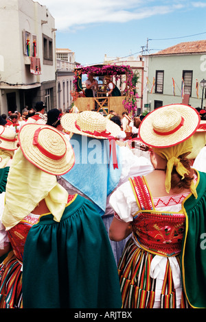 People wearing traditional dress during Corpus Christi celebration, La Orotava, Tenerife, Canary Islands, Spain, - Stock Photo