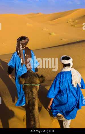 Riding a camel with two Berber guides that walk in the desert for a trip in Sahara Erg Chebbi dunes Morocco - Stock Photo