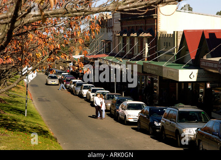 Shops and businesses on the main street of Leura in the Blue Mountains NSW Australia - Stock Photo