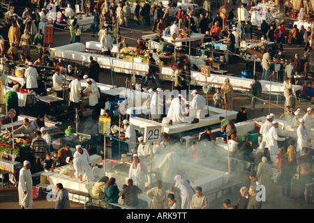 Food stalls in the Djemma-el-Fna square, Marrakech, Morocco - Stock Photo