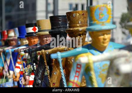 Attraction for tourists: the colorful symbols of Hamburg - the 'Hans Hummel' statues. Hamburg, Germany - Stock Photo