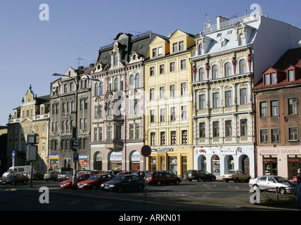 Row of residential buildings in the evening light. Liberec, Czech republic - Stock Photo