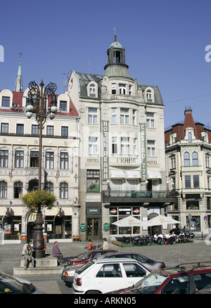 View across Benes Square towards the Hotel Praha in Liberec, Czech Republic. - Stock Photo