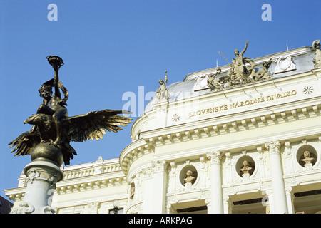 Statue and detail of facade of Bratislava's neo-baroque Slovak National Theatre, Bratislava, Slovakia - Stock Photo