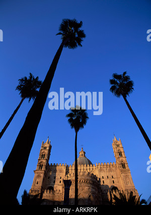 Christian cathedral and palm trees, Palermo, Sicily, Italy, Mediterranean, Europe - Stock Photo