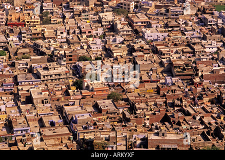 View of Jaipur, Rajasthan, India, from the hill-top fort, Nahargarh - Stock Photo