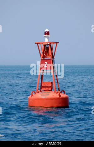 Buoy are floatation devices intend to be used as markers and directional finders on waterways - Stock Photo