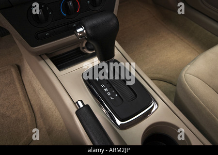 2008 Ford Fusion S in White - Gear shifter/center console - Stock Photo