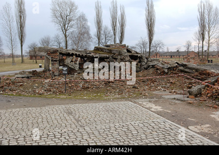 Remains of crematorium and gas chamber Auschwitz Birkenhau - Stock Photo