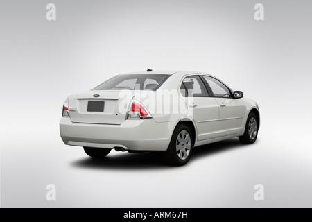 2008 Ford Fusion S in White - Rear angle view - Stock Photo
