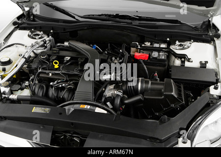 2008 Ford Fusion S in White - Engine - Stock Photo