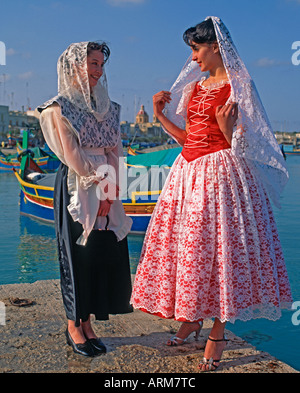 Women in National Dress Malta - Stock Photo