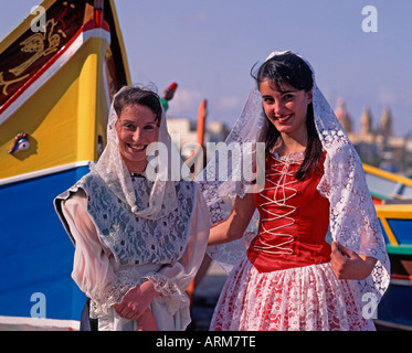 Women in National Dress Malta - Stock Photo