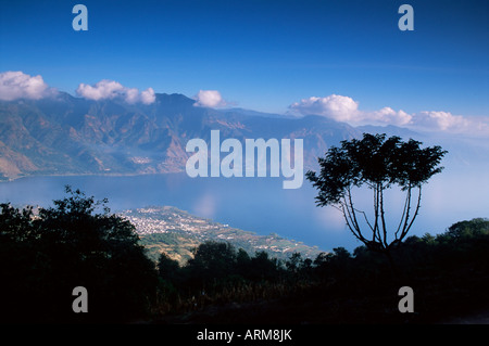 View from the San Pedro volcano of San Pedro and Lago Atitlan (Lake Atitlan), Guatemala, Central America - Stock Photo