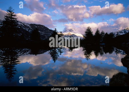 Grindjisee and Matterhorn at dawn, Zermatt, Swiss Alps, Switzerland, Europe - Stock Photo