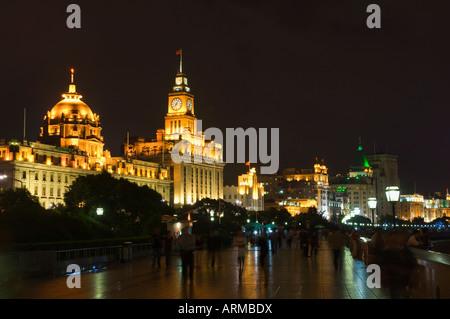 The Bund at night, Huangpu District, Shanghai, China, Asia - Stock Photo