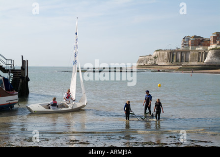 Launching Boats on Viking Bay Beach in Broadstairs Kent - Stock Photo