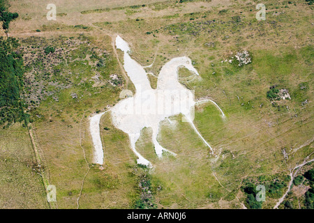 Aerial view of chalk figure. Osmington White Horse. South Dorset Downs. UK. - Stock Photo