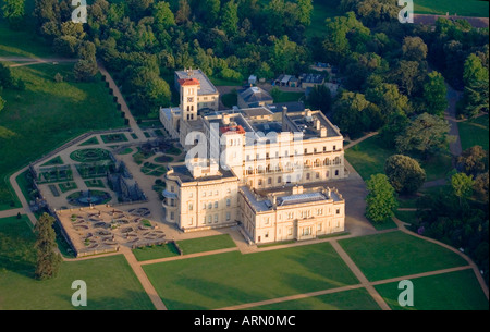 Aerial view of  Osborne House. East Cowes. Isle of Wight. UK. - Stock Photo