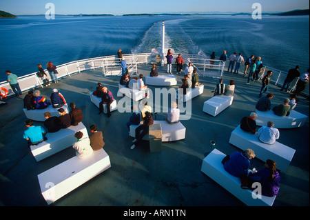 Passengers on the deck of a BC Ferry Spirit Class vessel between Tsawwassen and Swartz bay, Vancouver Island, British - Stock Photo