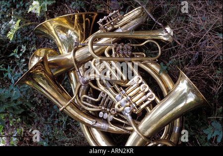 Guca Serbia Trumpet festival Aug 2002 Instruments waiting to be played - Stock Photo