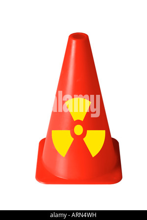 bright red safety cone with radiation sign printed on against white cutout - Stock Photo