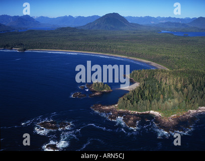 Aerial of Lismer Beach & Florencia Bay, Pacific Rim National Park, Vancouver Island, British Columbia, Canada. - Stock Photo