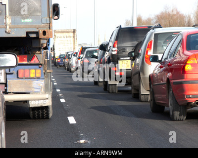 traffic jam on the motorway leading into belfast Northern Ireland UK - Stock Photo