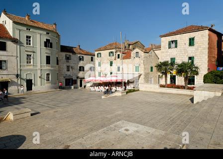 Historic city of Makarska at the Biokovo mountains, Dalmatia, Croatia - Stock Photo