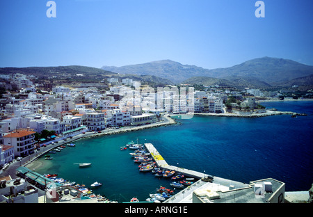 Pigadia Harbour Karpathos Town Greek Dodecanese Island  Greece - Stock Photo