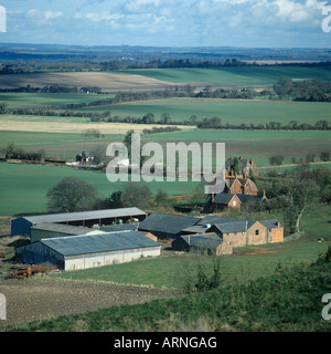 Farm buildings and farmland at Shalbourne near Hungerford, West Berkshire - Stock Photo