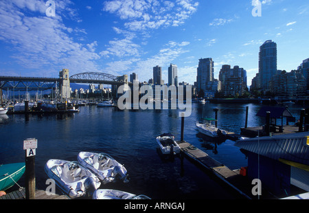 False creek with rental boats, Burrard Bridge in distance, Vancouver, British Columbia, Canada. - Stock Photo