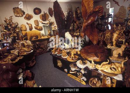 Qualicum Beach Local artisan, woodcarver Paul Bourbeau's studio, Vancouver Island, British Columbia, Canada. - Stock Photo