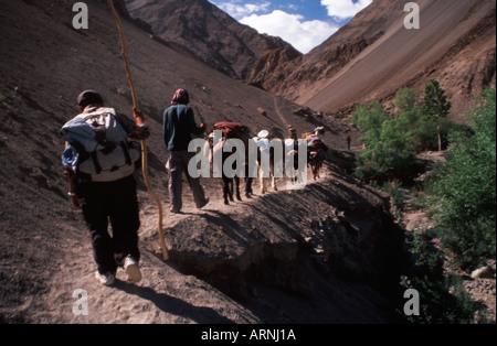 Trekkers on Markha Valley Trek Ladakh India - Stock Photo