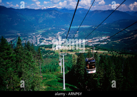gondola lifts hikers to meadows in summer, Whistler, British Columbia, Canada. - Stock Photo
