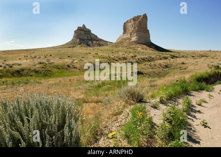 Courthouse and Jail Rock famous geographical landmarks in NW Nebraska - Stock Photo