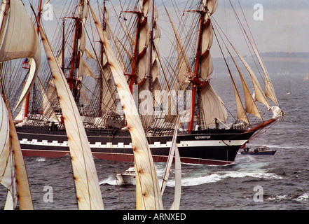 Tall ships race leaves Falmouth in Cornwall UK - Stock Photo