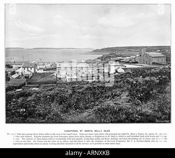 Scilly, Hugh Town, St Marys, 1900 photo of the main town and harbour on one of the principal Isles of Scilly - Stock Photo