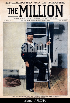 Naval Gunnery Instructor Cover of the popular Victorian magazine The Million with the instructor on HMS Tartar - Stock Photo