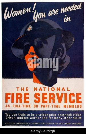 Women Needed Poster 1940 English Fire Service recruitment poster - Stock Photo