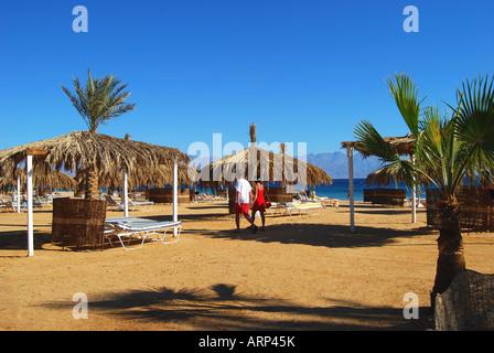 Hilton Nuweiba Coral Resort Hotel beach, Nuweiba, Sinai Peninsula, Republic of Egypt - Stock Photo