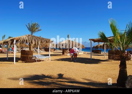 Hilton Nuweiba Coral Resort beach, Nuweiba, Sinai Peninsula, Republic of Egypt - Stock Photo