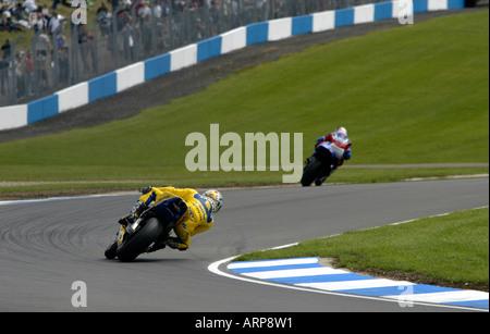 Moto GP competitors at Donnington Park circuit for the British Grand Prix - Stock Photo