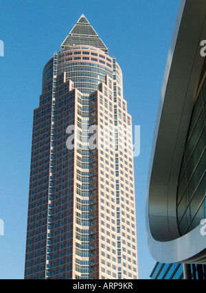 The MesseTurm or Trade Fair Tower in the Messegelande complex in central area of Frankfurt, Germany - Stock Photo